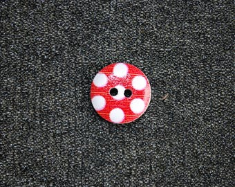 12 red buttons with white dots 15 mm wooden