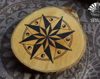 Compass Star Pyrography Log Pictures - created using pyrography techniques by Woodcastle
