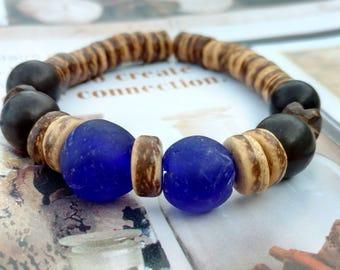Blue Recycled Glass Bracelet