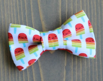Popsicle Print Bow Tie for Cat, Dog Bowtie, Slide on Collar Accessory, Made in Canada, Summer, Popsicles, Ice Pop, Collar NOT Included