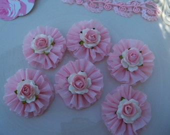 Birthday Decoration Pretty Rose and Ruffle Cupcake Toppers for Birthday Party and Valentine decoration