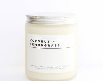 COCONUT + LEMONGRASS // 8 oz Frosted Glass Soy Wax Candle, Hand Poured, Natural, Highly Scented, Eco Friendly
