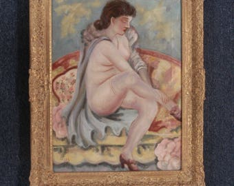 George Grosz Art Painting 1954 Oil Canvas 1893-1959 Signed Listed 01821