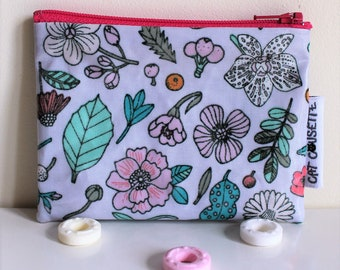 Clutch purse coated Hygge neon flowers - lilac
