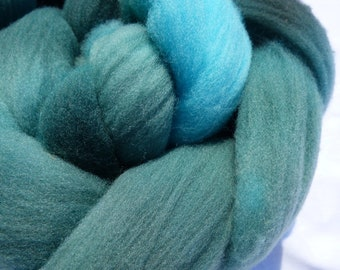 Dark Green and Turquoise Rambouillet - Hand Dyed Wool Roving (Top) - 100g
