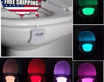 Toilet Night Light 8 Color LED Motion Activated Sensor Bathroom Illumibowl Seat DIY Bowl Hanger