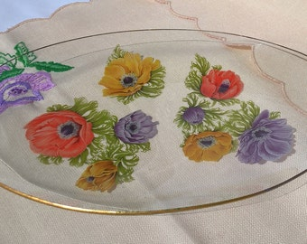 Oval Chance Glass dish in the 1965 'Anemones' pattern. lilac, yellow and red anemones.