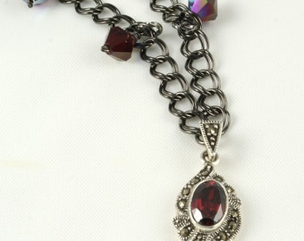 Black Cherry - Handmade Marcasite and Garnet Necklace