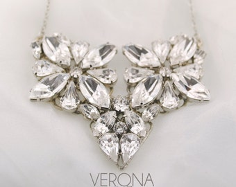 Bridal jewelry necklace - wedding necklace - Swarovski crystal necklace - statement bridal necklace - clear crystal - Verona necklace