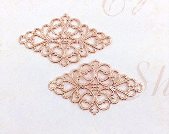 4 pcs. Rose Gold Filigree, Brass Filigree, Brass Connector, Filigree Connector, Earring Drop, Brass Drop, 45mm x 26mm - (rg129)