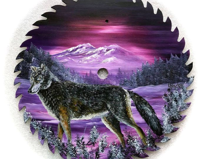 Hand Painted Saw Blade Mountain Lavender Timber Wolf 10 1/4 inch Real Saw Blade