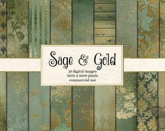 Sage and Gold Digital Paper, vintage grunge distressed St Patricks Day green and gold backgrounds, antique wedding textures instant download