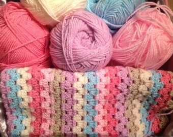 Granny stripe crochet blanket kit DK 'Sherbet' - pink and blue - various sizes