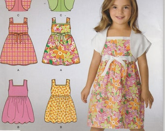 Dress With Bolero Pattern Girls Size 3 - 4 - 5 - 6 - 7 - 8 Uncut Simplicity 2432 Easy
