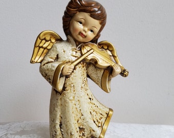 "Vintage Angel Statue Paper Mache Plaster Figurine With Violin in Gold Cream 8.5"" Tall, Retro Christmas Decor"