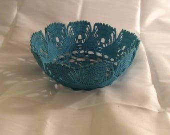 Filagree crocheted bowl basket