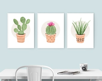 Kitchen Art - Prickly Pear, Ball Cactus, Aloe Vera Plant - Set of 3 Cactus Plant Illustrations