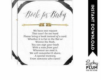 Woodland Baby Book Card / Deer Baby Book Card / Woodland Book Insert / Deer Book Insert / Woodland Bring A Book / Deer Bring A Book TR01