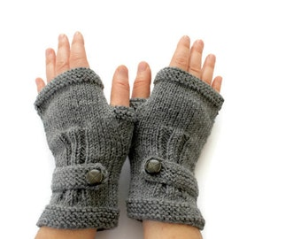 Knit Fingerless Gloves Men, Arm Warmers Dark Gray, Hand Warmers Unisex, Knit Buttom Glove Wool, Winter Accessories, Lover Gift, Father's Day