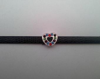 faux black leather and Rhinestone Heart bracelet