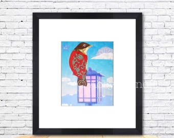 Bird Art, Bird Art Print, Bird Lover Gift, Boho Bird, Art Decor, Whimsical, Colorful, Art Print, Giclee, Collage, 8 x 10