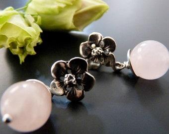 Rose Quartz earrings, stud flower earrings, post earrings