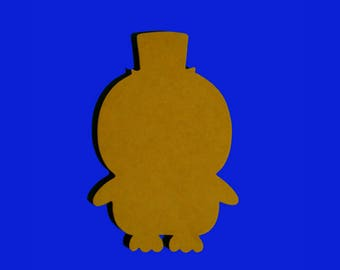 Penguin in a Top Hat Mosaic Base or Unpainted Wood Shape Mdf Cut Out