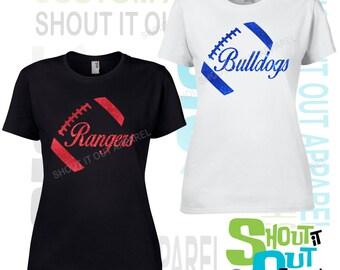 Football tshirt YOUR TEAM-your color choice, Football team spirit shirt, Football booster