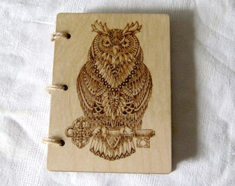 Owl wooden notebook Bird note Wood note Magic Harry Potter Hedwig