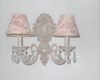 Ornate Victorian Style Wall Sconce with Pink Toile Lamp Shades- Shabby / French