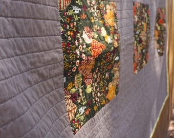 Autumn Colors Modern Lap Quilt.  Hand Quilted. Modern Design.