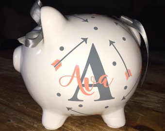 Custom piggy bank etsy personalized piggy bank with arrows custom piggy bank baby shower gift negle Choice Image