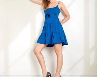 Flounce dress Strap dress Blue dress Casual dress Beach dress Petite dress  Mini dress