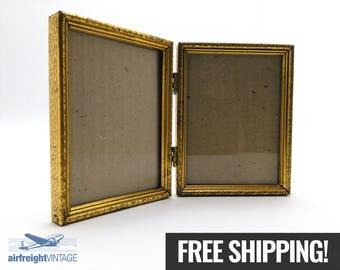 VINTAGE PICTURE FRAME, Vintage Photo Frame, Bi-Fold Picture Frames, Brass Picture Frame, Metal Picture Frame, Photo Frame, Desk Photo Frame