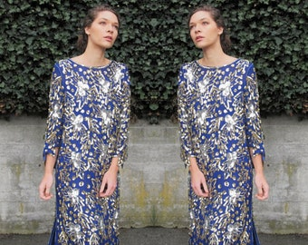 1980s Sequined Dress Starry Night Trophy Silk Sequin Dress Blue Gold Silver Art Deco Flapper Cocktail Party Long Sleeve Beaded Dress M