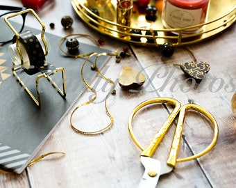 Red & Gold Party Styled Stock Photography /Stock Photo / Feminine Flatlay / Lifestyle Image / Wooden Desktop / Frankly Photos File #37