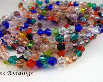 180 Rainbow, Blue, Red, Clear, Brown, Peach, Green, Teal 4mm Glass Bicone Beads - Free Shipping to Canada