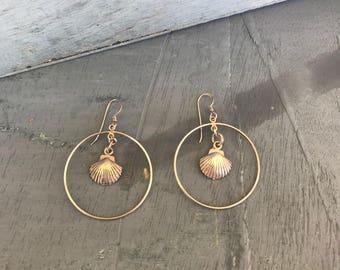 Sterling Silver Seashell Hoop Earrings