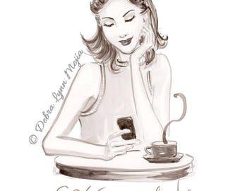 Cafe Con Leche Fashion Print, Coffee Print, Fashion Sketch, Fashion Wall Art,Fashion Illustration, Girly Sketch, Coffeelover gift, Art