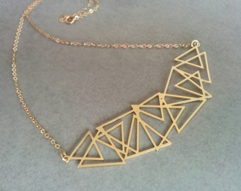 Triangle Necklace, Gold Triangle, Geometric Necklace, Gold Necklace, Delicate Necklace, Geometric Jewelry, Necklace, Triangle Jewelry