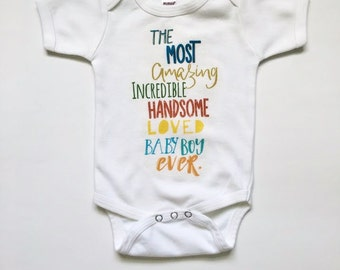 Baby bodysuit, Newborn Coming Home Outfit, Most amazing baby boy bodysuit, baby bodysuit, maxandmaekids, infant clothing, Max and Mae