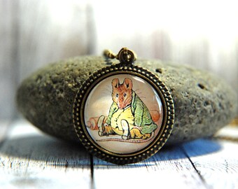 "1"" Round Glass Pendant Necklace or Key Chain - Beatrix Potter Samuel Whiskers"