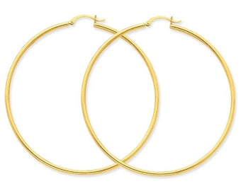 14K Yellow Gold Large Diameter Round Hoop Earrings 62mm x 2mm CKLT924