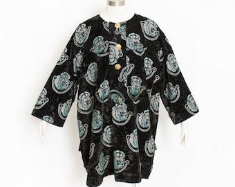 Vintage Oversized Dress - 1980s Black Crushed Velvet TIGER Flocked Tunic 80s - XXL Extra Large