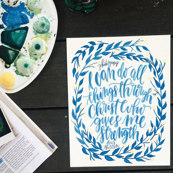 Custom watercolor scripture or hand lettered wedding vows, Christmas gift, full color original art, personalized artwork, customizable gift