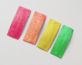 Neon snap clips.  Summer snap clips.  Glitter Snap clips.  Toddler Snap clips.  Neon Hair Clips