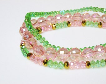 Pastel Crystal Stacking Bracelets / Set / Set of 3 Bracelets / Pastels / Pink / Green / Gold / Simple / Stretchy / Shiny / Pretty / Feminine