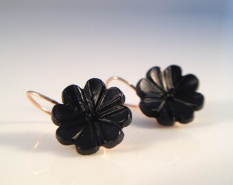 MOURNING JEWELRY--Rose Gold Earrings with Hand Carved Jet- Incredible Set