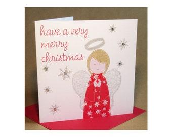 Christmas Angel Card  (jewelled)