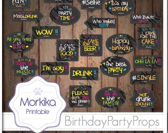 24 Photo Booth Props Printable, DIY birthday bubble speech, INSTANT DOWNLOAD, Birthday Party, Chalkboard props, gray, black, high resolution